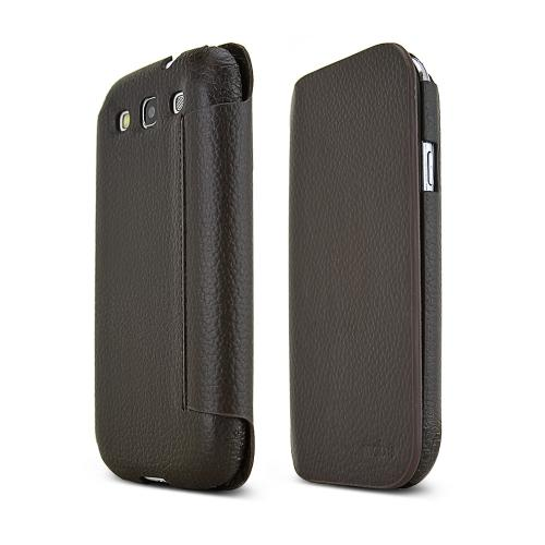 MobC Brown Samsung Galaxy S3 C.Pocket Hard Cover Diary Case w/ Suede Interior & ID Slots