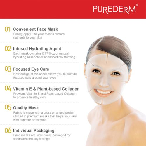 [15+1 pack] Essense Facial Mask Sheet - Purederm 16 Sheets Combo Serum and Collagen Facial Mask Sheet