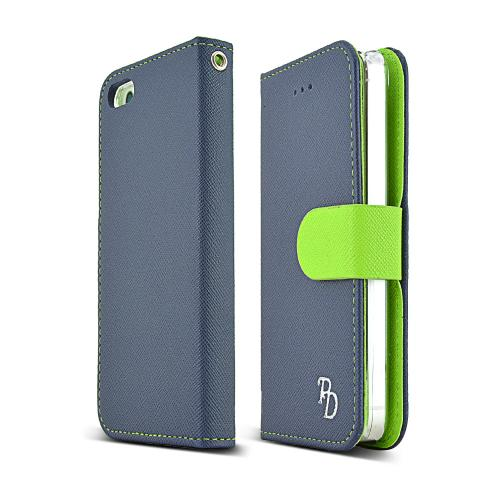 Apple Iphone Se / 5 / 5s Wallet Case, Rs [navy/ Lime Gree...