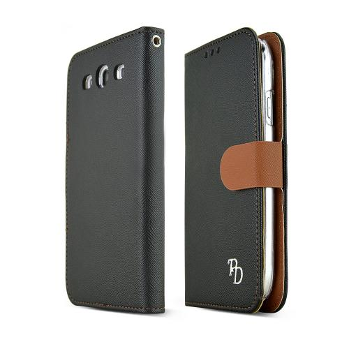 REDShield Black/ Brown Faux Leather Diary Flip Hard Case w/ ID Slots, Wrist Strap, & Magnetic Closure for Samsung Galaxy S3