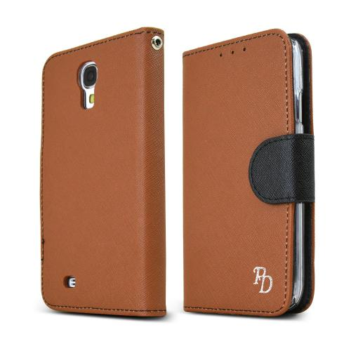 REDShield Brown/ Black Faux Leather Diary Flip Hard Case w/ ID Slots, Wrist Strap, & Magnetic Closure for Samsung Galaxy S4