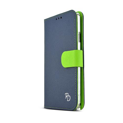 REDShield Navy/ Lime Green Faux Leather Diary Flip Hard Case w/ ID Slots, Wrist Strap, & Magnetic Closure for Samsung Galaxy Note 3