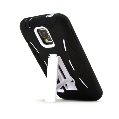 Black Silicone Skin Case on White Hard Cover Case w/ Kickstand for Samsung Galaxy S5