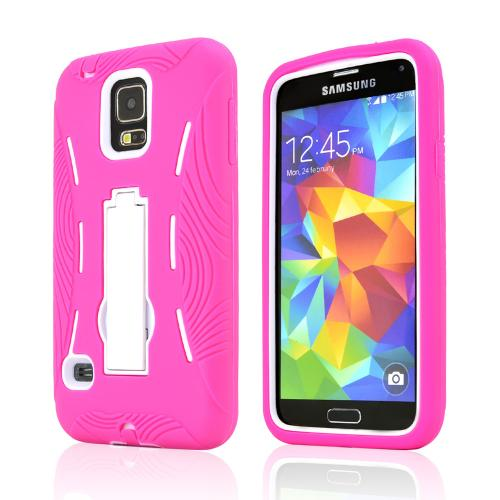 Hot Pink Silicone Skin Case on White Hard Cover Case w/ Kickstand for Samsung Galaxy S5
