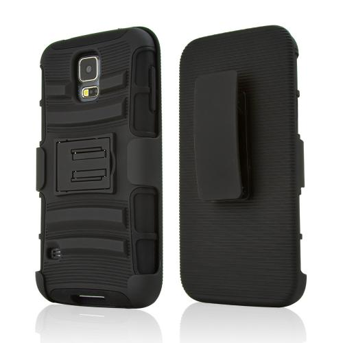 Manufacturers Black Rubberized Hard Case w/ Kickstand on Black Silicone Skin Case w/ Holster for Samsung Galaxy S5 Hard Cases
