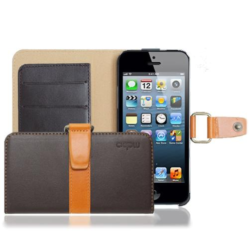 Apple iPhone SE / 5 / 5S Wallet Case, MobC [Brown/ Light Brown] J Pocket Hard Case Best Design With Coolest Premium Natural Leather
