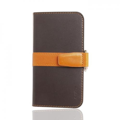 MobC iPhone 5/5S J Pocket Wallet Case | Natural Leather Wallet Case Cover w/ ID Slots & Free Screen Protector [Brown/Khaki]