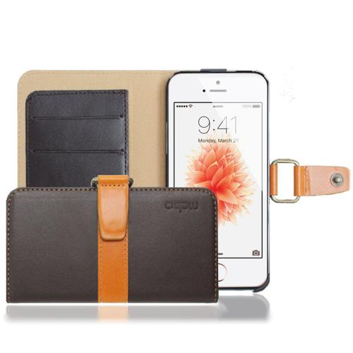 Apple iPhone SE / 5 / 5S Wallet Case, MobC [Brown/ Khaki] J Pocket Hard Case Best Design With Coolest Premium Natural Leather