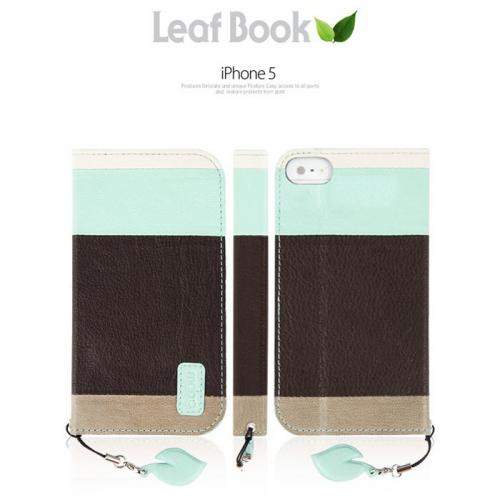 MobC Brown/ Mint Green Apple iPhone 5/5S Leaf Book Diary Hard Case; Best Design with Coolest Premium Natural Leather, Fashion Slim Wallet Case Cover w/ Stand Feature & Free Screen Protector!