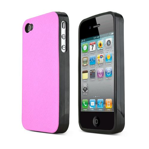 REDShield Pink Apple iPhone 4/4S Case Cover; [Anti-Slip] Soft Silicone TPU Gel Material w/ Coolest Fashion Faux leather Textured Back - XXIP4