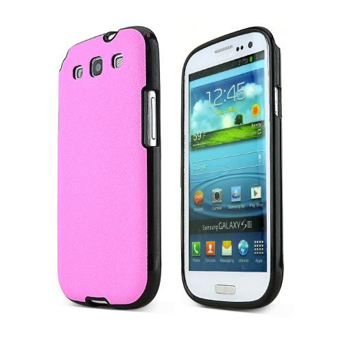REDShield Baby Pink Samsung Galaxy S3 Case Cover; [Anti-Slip] Soft Silicone TPU Gel Material w/Coolest Fashion faux leather Textured Back