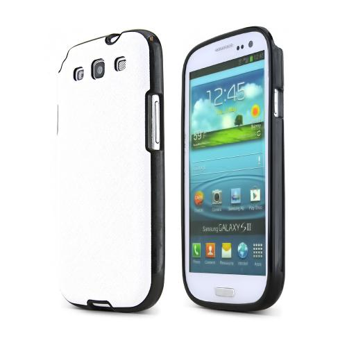 REDShield White Samsung Galaxy S3 Case Cover; [Anti-Slip] Soft Silicone TPU Gel Material w/Coolest Fashion faux leather Textured Back