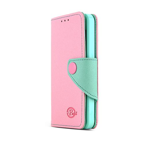 Apple iPhone SE / 5 / 5S Wallet Case, REDshield [Baby Pink/Mint]  Kickstand Feature Luxury Faux Saffiano Leather Front Flip Cover with Built-in Card Slots, Magnetic Flap