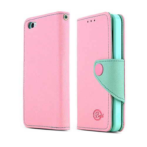 iPhone 5/5s Wallet Case by REDShield | [Baby Pink/Mint] Faux Leather TPU Case w/ Credit Card Slots & Snap Close Magnet