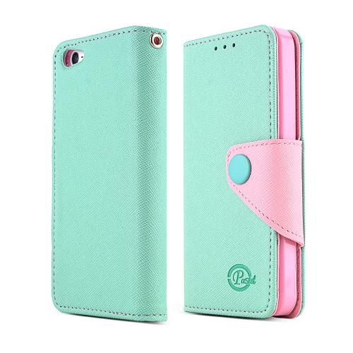 Apple iPhone SE / 5 / 5S Wallet Case,  [Mint/Baby Pink]  Kickstand Feature Luxury Faux Saffiano Leather Front Flip Cover with Built-in Card Slots, Magnetic Flap