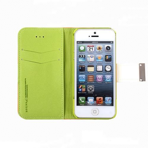 Apple iPhone SE / 5 / 5S Wallet Case, Feelook [Black/Lime Green]  Kickstand Feature Luxury Faux Saffiano Leather Front Flip Cover with Built-in Card Slots, Magnetic Flap