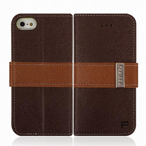 Apple iPhone SE / 5 / 5S Wallet Case, Feelook [Dark Brown/Lime Green]  Kickstand Feature Luxury Faux Saffiano Leather Front Flip Cover with Built-in Card Slots, Magnetic Flap
