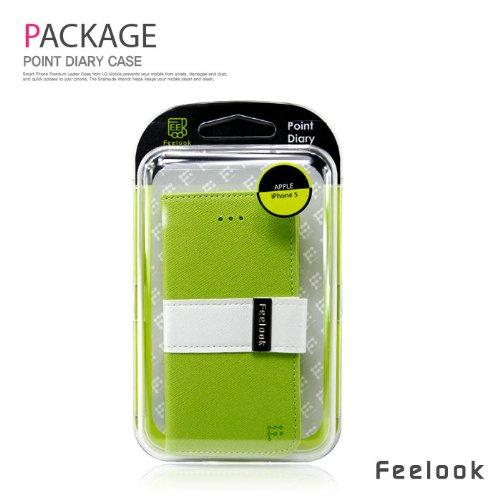 Apple iPhone SE / 5 / 5S Wallet Case, Feelook [Lime Green/White]  Kickstand Feature Luxury Faux Saffiano Leather Front Flip Cover with Built-in Card Slots, Magnetic Flap