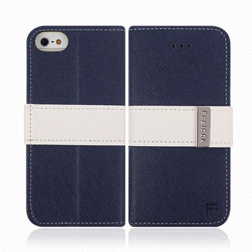 Apple iPhone SE / 5 / 5S Wallet Case, Feelook [Navy/White]  Kickstand Feature Luxury Faux Saffiano Leather Front Flip Cover with Built-in Card Slots, Magnetic Flap