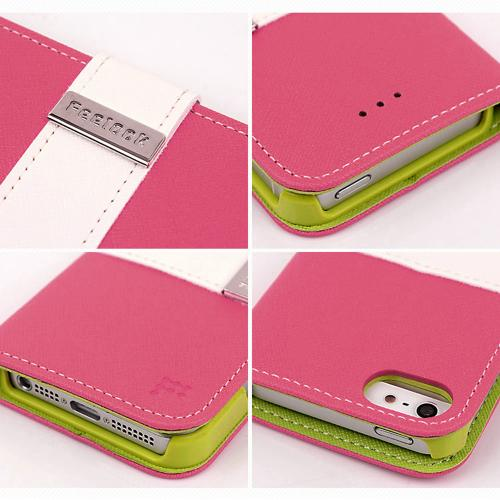 Apple iPhone SE / 5 / 5S Wallet Case, Feelook [Hot Pink/Lime Green]  Kickstand Feature Luxury Faux Saffiano Leather Front Flip Cover with Built-in Card Slots, Magnetic Flap