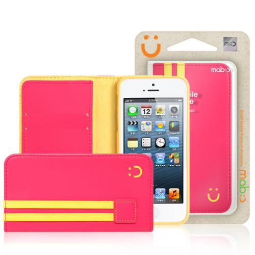 iPhone 5/5s Wallet Case by Mobc [Pink/Yellow] Sporty Book Faux Leather Fashion Slim Wallet Case Featuring ID Slots & Free Screen Protector