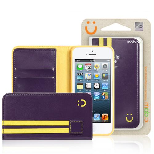 iPhone 5/5s Wallet Case by Mobc [Purple/Yellow] Sporty Book Faux Leather Fashion Slim Wallet Case Featuring ID Slots & Free Screen Protector
