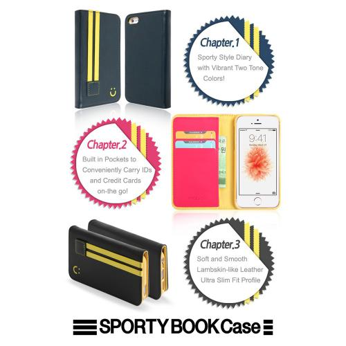 [Apple iPhone SE/5/5S] Wallet Case, MobC [Black/Yellow]  Kickstand Feature Luxury Faux Saffiano Leather Front Flip Cover with Built-in Card Slots, Magnetic Flap w/ Free Screen Protector