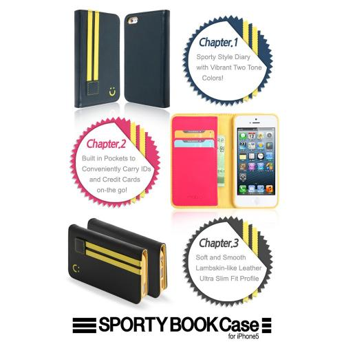 [Apple iPhone SE/5/5S] Wallet Case, MobC [Navy/Yellow]  Kickstand Feature Luxury Faux Saffiano Leather Front Flip Cover with Built-in Card Slots, Magnetic Flap w/ Free Screen Protector