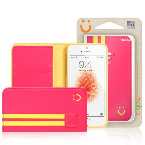 [Apple iPhone SE/5/5S] Wallet Case, MobC [Pink/Yellow]  Kickstand Feature Luxury Faux Saffiano Leather Front Flip Cover with Built-in Card Slots, Magnetic Flap w/ Free Screen Protector