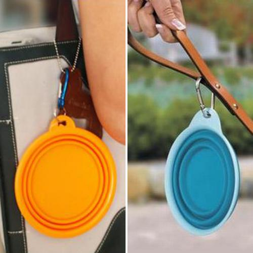 Portable Silicone Collapsible Folding Pet Feeding Bowl [Blue]