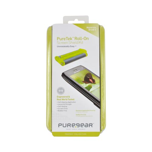 Original PureGear Motorola Droid 4 PureTek Roll-On Screen Protector Kit - Clear