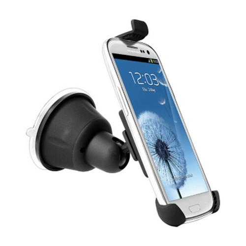 Black Suction Cup Car Mount for Smartphones & MP3 Players Up To 5.4 Inches