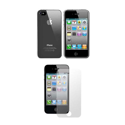 AT&T/ Verizon Apple iPhone 4, iPhone 4S Combo Package w/ Clear Plastic Case & Premium Screen Protector