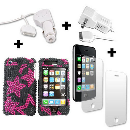 Apple iPhone 3G 3Gs 2 Screen Protectors, 2 Chargers, and Pink Star Bling Case Bundle