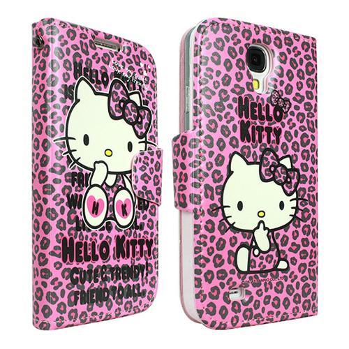 Hello Kitty Hot Pink w/ Black Leopard Faux Leather Diary Flip Case w/ ID Slots & Wrist Strap for Samsung Galaxy S4 - PKPDIR278