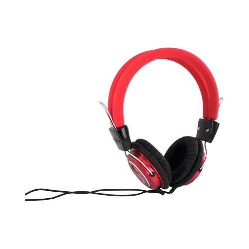 Original Luxmo Platinum Beat Bass Headphones w/ Ear Cushions (3.5mm), PLTBEATBRD - Red/ Black