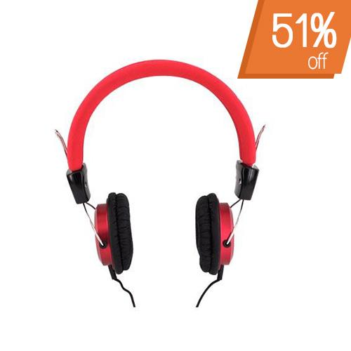 Original Luxmo Platinum Beat Bass Universal Headphones w/ Ear Cushions (3.5mm), PLTBEATBRD - Red/ Black