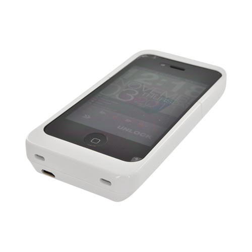 Original Luxmo Platinum Maxboost Apple iPhone 4/ 4S Hard Charging Case (1700 mAh) w/ Cable & Screen Protector, PLTMBCAIP4SL1WT - White