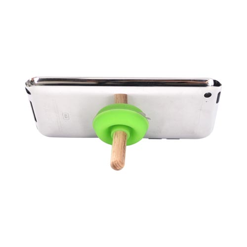 Portable Cell Phone Silicone Suction Plunger Stand Holder - Green