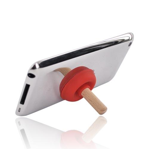 Universal Portable Cell Phone Silicone Suction Plunger Stand Holder - Red