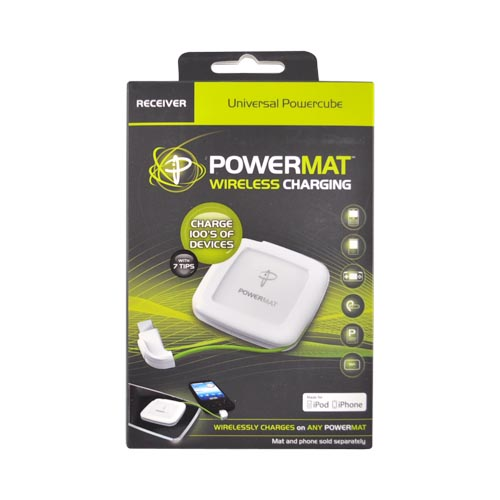 Original Powermat Universal Powercube Receiver Apple iPhone/iPod Charger w/ 7 Tips, PMR-PPC2 - White