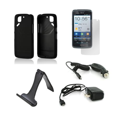 Pantech Flex Essential Bundle Package w/ Black Rubberized Hard Case, Screen Protector, Portable Stand, Car & Travel Charger