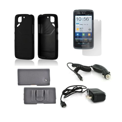 Pantech Flex Essential Bundle Package w/ Black Rubberized Hard Case, Screen Protector, Leather Pouch, Car & Travel Charger