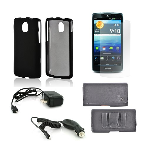 Essential Bundle Package w/ Black Rubberized Hard Case, Screen Protector, Leather Pouch, Car & Travel Charger for Pantech Discover