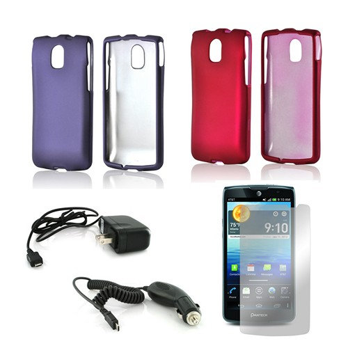 Essential Girly Bundle Package w/ Hot Pink & Purple Rubberized Hard Case, Mirror Screen Protector, Car & Travel Charger for Pantech Discover