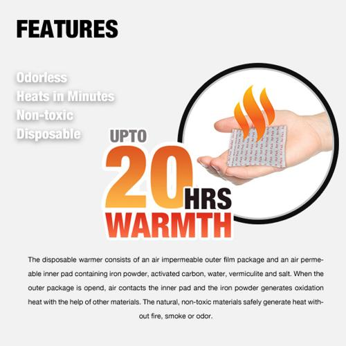 Owlheat [pocket Body Warmer - 20 Pack/20 Pieces] Disposable Self Heating Pocket Body Warmers - Up To 400 Hours Of Total Warmth!