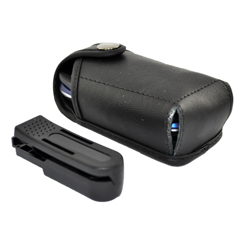 Original TurtleBack Universal Genuine Leather Pouch w/ Swivel Belt Clip for Small Flip Phones - Black (FS)