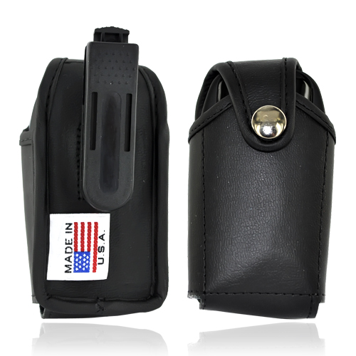 Original TurtleBack Genuine Leather Pouch w/ Swivel Belt Clip for Small Flip Phones - Black (FS)