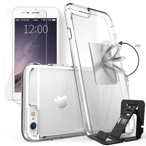 REDshield Apple iPhone 6/6S (4.7 inch) Bundle: Flexible Crystal Silicone Clear Gel Skin Case + Tempered Glass Screen Protector + Phone Ring Stand Holder + Portable, Foldable Smartphone Stand