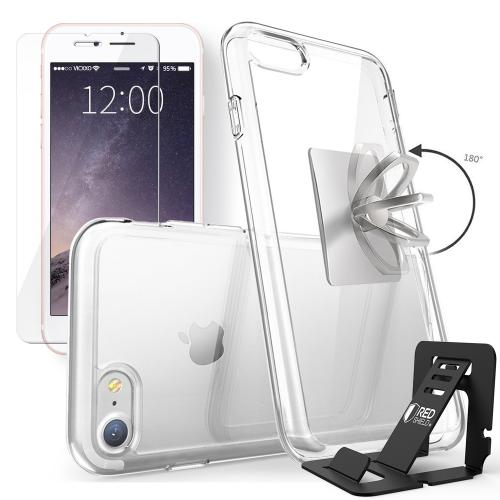 REDshield Apple iPhone 7 Bundle: Flexible Crystal Silicone Clear Gel Skin Case + Tempered Glass Screen Protector + Phone Ring Stand Holder + Portable, Foldable Smartphone Stand